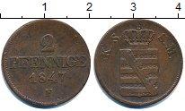 Изображение Монеты Германия Саксония 2 пфеннига 1847 Медь VF