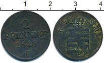 Изображение Монеты Германия Саксония 2 пфеннига 1848 Медь VF