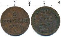 Изображение Монеты Германия Саксония 2 пфеннига 1850 Медь VF