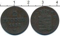 Изображение Монеты Германия Саксония 2 пфеннига 1855 Медь VF