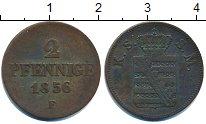Изображение Монеты Германия Саксония 2 пфеннига 1856 Медь XF
