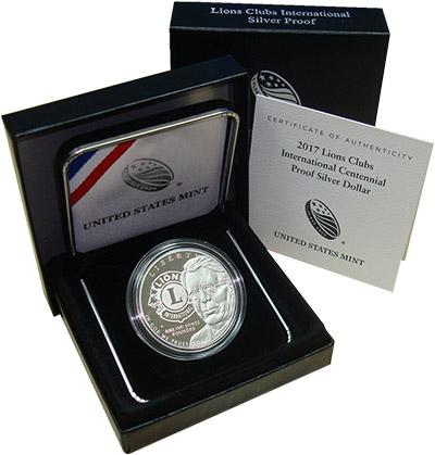 Изображение Подарочные монеты США Клуб Львов 2017 Серебро Proof Монета номиналом 1 д