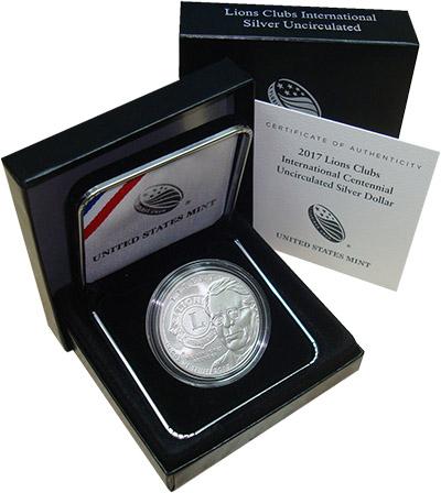 Изображение Подарочные монеты США 1 доллар 2017 Серебро UNC Монета номиналом 1 д