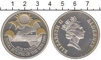 Изображение Монеты Олдерни 5 фунтов 1999 Серебро Proof- Цветная  печать.  Ел