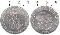 Изображение Монеты Монако 100 франков 1999 Серебро UNC- 50 лет принцу Рэнье