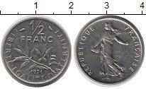 Изображение Барахолка Франция 1/2 франка 1971 Медно-никель XF