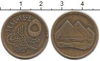 Изображение Дешевые монеты Египет 5 пиастров 1984 Медно-никель XF-