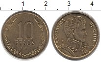 Изображение Дешевые монеты Чили 10 песо 2014 Медно-никель XF