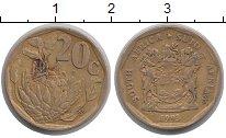 Изображение Дешевые монеты ЮАР 20 центов 1993 Латунь VF
