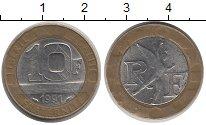 Изображение Барахолка Франция 10 франков 1991 Биметалл VF+