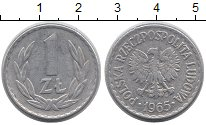 Изображение Дешевые монеты Польша 1 злотый 1965 Алюминий XF-