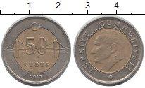Изображение Дешевые монеты Турция 50 куруш 2010 Биметалл VF+