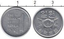 Изображение Дешевые монеты Южная Корея 1 вон 1970 Алюминий VF+