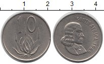 Изображение Барахолка ЮАР 10 центов 1965 Латунь-сталь VF
