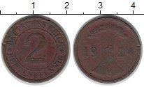 Изображение Дешевые монеты Германия 2 пфеннига 1924 Медь VF
