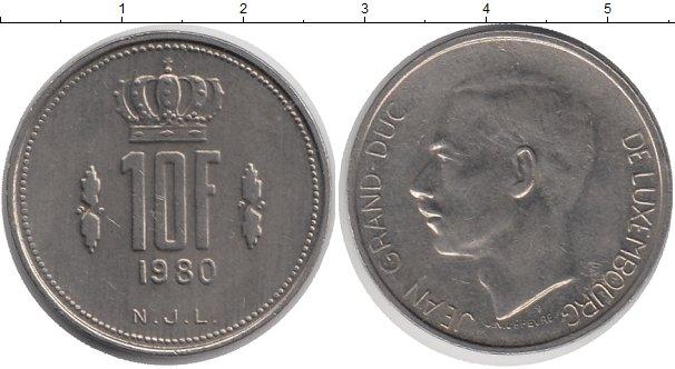 Картинка Дешевые монеты Люксембург 10 франков Медно-никель 1980