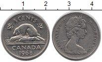 Изображение Дешевые монеты Канада 5 центов 1968 Медно-никель XF-