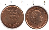 Изображение Дешевые монеты Нидерланды 5 центов 1980 сталь с медным покрытием UNC-
