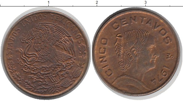 Картинка Дешевые монеты Мексика 5 сентаво Медь 1974