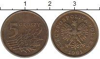 Изображение Дешевые монеты Польша 5 грош 1991 Латунь XF