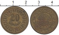 Изображение Дешевые монеты Тунис 20 миллим 1960 Латунь XF