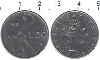 Изображение Дешевые монеты Италия 50 лир 1980 Медно-никель XF-