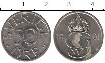Изображение Дешевые монеты Швеция 50 эре 1981 Медно-никель VF