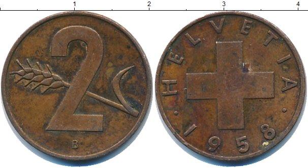 Картинка Дешевые монеты Швейцария 2 раппа Медь 1958