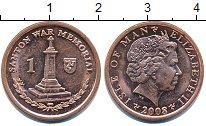 Изображение Дешевые монеты Остров Мэн 1 пенни 2008 Латунь-сталь XF-