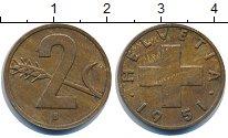 Изображение Дешевые монеты Швейцария 2 раппа 1951 Латунь VF