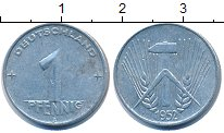 Изображение Дешевые монеты ГДР 1 пфенниг 1952 Алюминий VF+