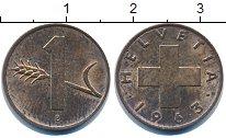 Изображение Дешевые монеты Швейцария 1 рапп 1963 Медь VF+