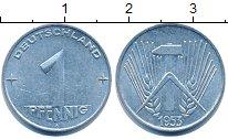 Изображение Барахолка ГДР 1 пфенниг 1953 Алюминий XF