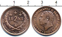 Изображение Дешевые монеты Самоа 2 Сене 2000 сталь с медным покрытием XF