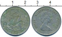 Изображение Барахолка Карибы 25 центов 1989 Медно-никель XF