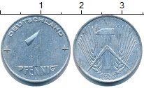 Изображение Дешевые монеты ГДР 1 пфенниг 1953 Алюминий XF