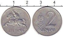 Изображение Дешевые монеты Литва 2 цента 1991 Алюминий VF