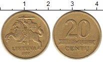 Изображение Барахолка Литва 20 сенти 1997 Латунь VF+