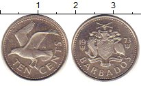Изображение Барахолка Барбадос 10 центов 1973 Медно-никель XF-