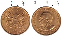 Изображение Дешевые монеты Кения 5 центов 1971 Латунь UNS-