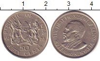 Изображение Дешевые монеты Кения 50 центов 1978 Медно-никель XF-