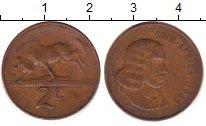 Изображение Дешевые монеты ЮАР 2 цента 1965 Медь XF