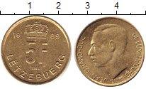 Изображение Барахолка Люксембург 5 франков 1989 Медно-никель VF+