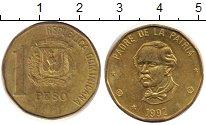Изображение Дешевые монеты Доминиканская республика 1 песо 1992 Латунь-сталь VF