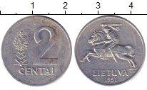 Изображение Дешевые монеты Литва 2 цента 1991 Алюминий VF+