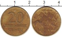 Изображение Дешевые монеты Литва 20 сенти 1997 Латунь XF