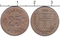 Изображение Барахолка Исландия 25 аурар 1946 Медно-никель XF