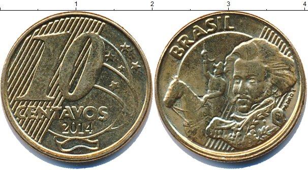 Картинка Дешевые монеты Бразилия 10 сентаво Латунь-сталь 2014