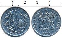 Изображение Дешевые монеты ЮАР 20 центов 1990 Медно-никель XF-