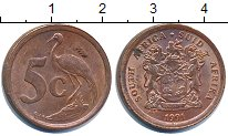 Изображение Дешевые монеты ЮАР 5 центов 1991 Медь